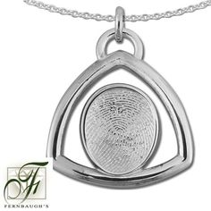 Sterling Silver Triangle, or 14K White Gold - 14mm Fingerprint - (Sterling Silver includes chain, 14K White gold does not include chain) $229.99 Fingerprint Jewelry, Triangle, White Gold, Sterling Silver, Chain, Mirror, Prints, Yellow, Mirrors