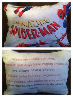 The Amazing Spiderman-Peter Parker quote pillow. $25.00, via Etsy.  I want this so much