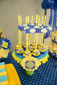 Minion Birthday Party  Minion Cake Pops with printable straw flags