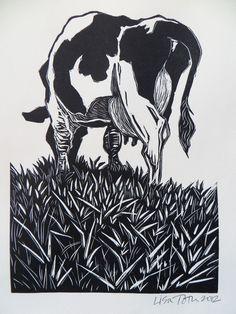 Woodblock print: Grazing. $35.00, via Etsy.