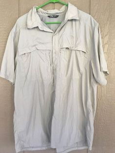 THE NORTH FACE Men's Shirt Size XL Beige Button Down Short Sleeve Nylon Fishing #TheNorthFace #ButtonFront