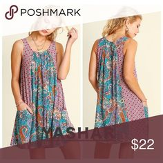 🚨LABOR SALE🌶Super Convenient Mixed Print Dress Nothing is more convenient on a hot summer day than a sleeveless pleated dress with mixed print. The mixed print patterns, pleated details and front slip pockets makes it cool and fresh.  You just slip it on as it has a wide neckline. Dresses