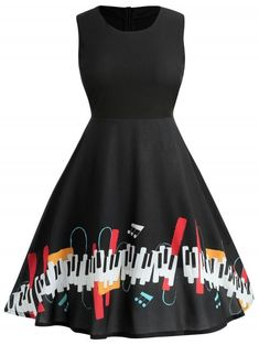 ce411d11ded woman s variety clothing · Plus Size Music Note Vintage Dress - BLACK L