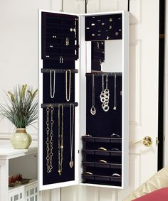 White Over-the-Door Mirrored Jewelry Armoire
