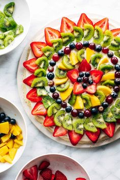 This simple fruit pizza is beautiful and delicious! A soft sugar cookie crust with a cream cheese frosting and topped with sliced fruit. #fruitpizza #dessert #summer   pinchofyum.com Easy Summer Desserts, Summer Dessert Recipes, Fruit Recipes, Pizza Recipes, Fruit Snacks, Healthy Rhubarb Recipes, Keto Fruit, Healthy Fruits, Easy Snacks