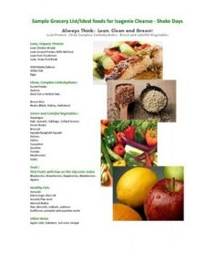 Sample Grocery List - Ideal Food for Isagenix Cleanse Shake Days http://egonzo83.isagenix.com