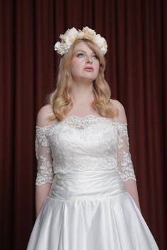 Satin gown with a lace bolero   www.ThingsIAdore.com