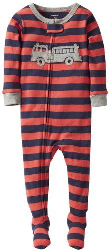 Carter s 1 Piece Cotton Striped Footie (Baby) - Navy Orange-12 Months 696f79131