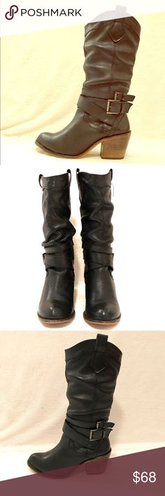 "Black Aldo Boots! Black Aldo Black slouchy Boots! Western style with buckle. 11.5"" tall. 2.5"" heel. In great condition. Offers welcome! :-) Aldo Shoes Heeled Boots"