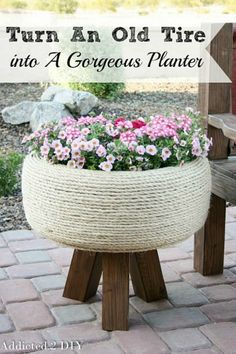 Awesome DIY outdoor projects!  // cleanandscentsible.com Wrap in rope then use as seats for the kids.