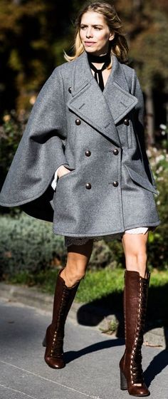 P F W  Gray Stylish Coat Fall Streetstyle Inspo by Mode d'Amour