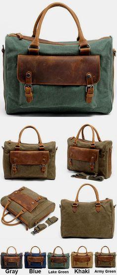2d22e441e9 Vintage Square Briefcase Laptop Zipper  Handbag Thick Canvas Splicing  Leather Shoulder Bag for big sale