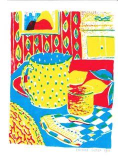 Gravures & Estampes | Encore Super | A table II | Tirage d'art en série limitée sur L'oeil ouvert Street Art, Art Graphique, A Table, Artwork, Painting, Contemporary Photography, Old Photography, Etchings, Prints