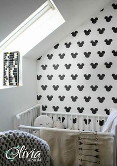 PEEL and STICK Baby Nursery Selfadhesive vinyl wallpaper -black and white Mickey mouse - OLB_058 by theOliviaDesign on Etsy https://www.etsy.com/listing/250913469/peel-and-stick-baby-nursery-selfadhesive