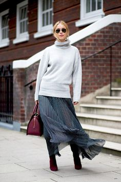See How This Top Blogger Styles a Maxi Skirt for Fall via @WhoWhatWear