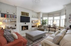 5 bedroom detached house for sale in Trinity Road, London - Rightmove 1930s Living Room, New Living Room, Living Room Decor, Interior Design Living Room Warm, Living Room Designs, 1930s House Interior Living Rooms, Style At Home, Bay Window Living Room, Front Rooms