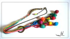 long sautoir textile asymétrique, fils coton et perle olives multicolores : Collier par lydia-nowik-dans-ma-tour-d-ivoire