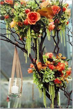 Wedding, Flowers, Reception, Orange - Photo by Skye Blu Photography - Project Wedding Wedding Centerpieces, Wedding Bouquets, Wedding Flowers, Wedding Decorations, Manzanita Centerpiece, Manzanita Tree, Green Centerpieces, Elegant Centerpieces, Tall Centerpiece