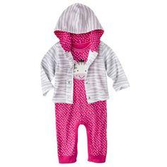 Gerber Onesies® Newborn Girls' Zebra Coverall and Jacket Set - Pink/Grey $9.99
