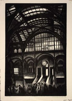 Penn Station, NYC by Howard Cook / American Art