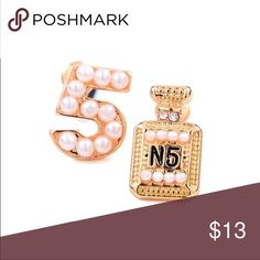 Chanel No. 5 earrings Pearl studded Chanel Inspired studs gold CHANEL Jewelry Earrings