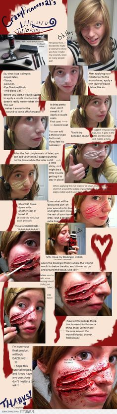 halloween makeup diy -- tutorial on how to create fake wounds that could be used for claw marks, demon attacks, zombie makeup or anything else you can dream of. a bit skimpy on details but it's a great start Creepy Halloween Makeup, Zombie Makeup, Halloween Cosplay, Fall Halloween, Sfx Makeup, Creepy Makeup, Terrifying Halloween, Halloween Express, Zombie Costumes