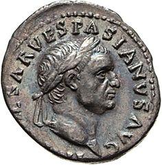 Denario - argento - Roma (69-70 d.C.) - I[MP CAE]SAR VESPASIANVS AVG. testa di Vespasiano laureato vs.dx. - Münzkabinett Berlin