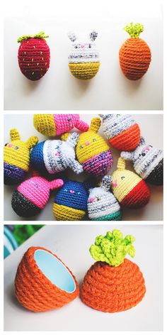 DIY Crochet Amigurumi Easter Eggs *Free PatternCover plastic eggs with glued on crocheted amigurumi.For everything DIY Easter go here.Find the free patterns for these DIY Crochet Amigurumi Easter Eggs from Good Knits here.