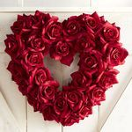 """Faux Red Rose Heart 18"""" Wreath"""