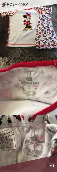 Disney - Minnie Mouse pj set Size 8 girls Minnie Mouse pj top and matching shorts; excellent condition!! Disney Pajamas Pajama Sets
