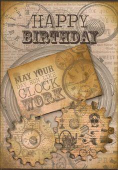 Hand made steampunk birthday card £2.00