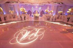 Monogram Dance Floor    Photography: Jay Lawrence Goldman Photography   Read More:  http://www.insideweddings.com/weddings/glamorous-winter-wedding-in-beverly-hills-california/413/
