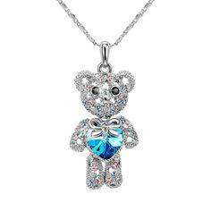 "Amazon.com: T400 Jewelers Swarovski Elements Crystal Animal Teddy Bear Pendant Necklace Indicolite 15"": Jewelry"