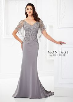 Montage By Mon Cheri 118967 - Light and airy, this crepe and metallic lace fit and flare gown features draped cape-like short illusion lace sleeves, lace illusion front and back V-necklines, a lace covered sweetheart bodice with a natural waistline, and a back inset skirt with a sweep train.