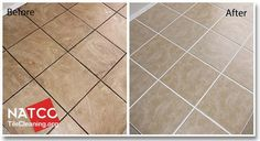 before and after cleaning ceramic tile floor