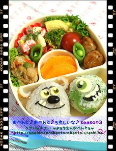Adorable bento box with Monster's Inc. characters!