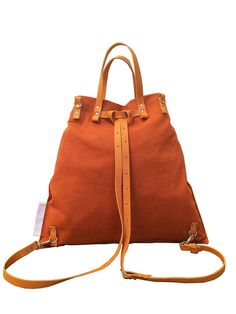 Orange cotton fabric bag backpack convertible by genreDenis