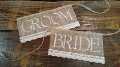 Bride and Groom Burlap and Lace Wedding Chair Sign