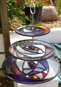 Stained glass cup cake stand