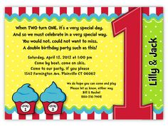 Dr. Seuss Thing 1 & Thing 2 Personalized Twins First Birthday Invitations, for boy-girl twins, twin girls and twin boys on Etsy, $1.34 AUD