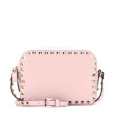 Valentino Rockstud Leather Cross-Body Bag (1 560 AUD) ❤ liked on Polyvore featuring bags, handbags, shoulder bags, pink, genuine leather shoulder bag, leather cross body handbags, leather crossbody, leather crossbody purse and pink shoulder bag