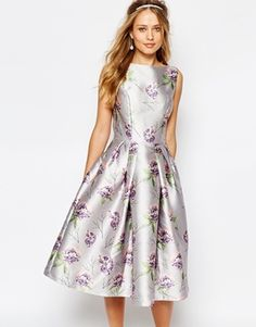 Chi Chi London Midi Prom Dress In Allover Floral
