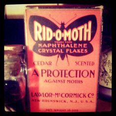 Vintage moth flakes packaging in my studio, so prettier than modern packaging!