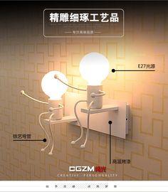 Moderne minimaliste salon chambre lampe de chevet mur lampe LED créative de bande dessinée enfant de fer allée applique murale d'intérieur dans Mur Lampes de Lumières et Éclairage sur AliExpress.com | Alibaba Group