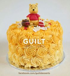 Pooh Rose Ombre Cake - Cake by guiltdesserts Winnie Pooh Torte, Winnie The Pooh Themes, Winne The Pooh, Winnie The Pooh Birthday, Baby Boy 1st Birthday, Birthday Ideas, Birthday Cake, Baby Shower Cakes, Baby Boy Shower