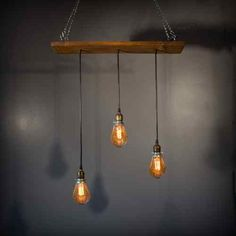 Vintage Industrial Pendant Lamp Chandelier Reclaimed Barn Wood Steampunk