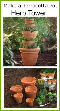 Gardening Herb How to Make a terracotta pot herb tower (DIY Saturday featured project) - This DIY Terracotta Herb Tower would be a great project for those that have little outdoor gardening space since it's designed vertically. Herb Garden Design, Diy Herb Garden, Edible Garden, Garden Pots, Herbs Garden, Fruit Garden, Container Herb Garden, Design Jardin, Tower Garden