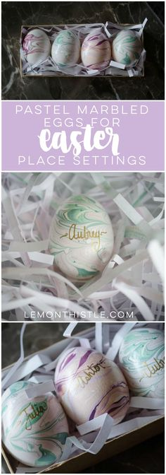 I LOVE these pastel marbled easter eggs... they're gorgeous! And lettering names on them in gold is such a nice touch for easter dinner place settings