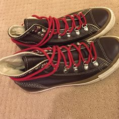 437f035a02639 Converse All-Star leather sneakers Limited edition brown leather with red  laces