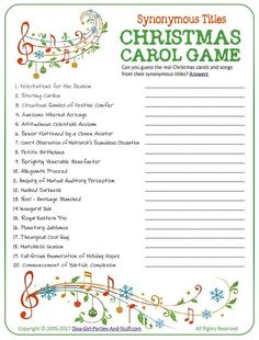 You'll need a thesaurus of word knowledge to win this Christmas carol game. Popular Christmas carol titles have been altered. Decipher & guess the original Christmas songs from their fun new titles. Christmas Gift Exchange Games, Fun Christmas Party Games, Christmas Quiz, Xmas Games, Printable Christmas Games, Holiday Games, Christmas Words, Christmas Activities, Christmas Projects